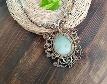 Macrame Necklace with Jade stone, hippie chic necklace, ethical jewelry, gift for her, the Power of stones