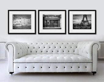 Black and white Paris print set, Paris wall art, set of 3 prints, Paris home decor, Paris photography set, dark grey wall art, France decor