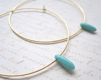 Turquoise Dagger Bead Hoop Earrings, Large Gold Plated Earrings, Hoop Earrings, Gold Hoops