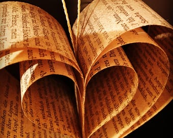 Heart | Paper heart | Book type | Weihnachstdeko