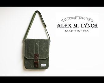 Vertical messenger travel bag - tablet bag - heavy waxed canvas cross body small bag