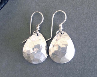 Aluminum Teardrop Earrings Hammered Silver Tone Dangle Earrings Modern Metal Jewelry Sterling Silver 925 Ear Wires 10th Anniversary Gift
