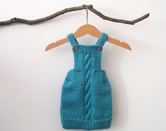 Hand Knit Baby Romper - Turquoise Baby Onesie - Newborn Outfit - Baby Shower Gift - 0-3 Months