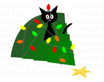 Black cat funny christmas card, cat in tree holiday card, mischievous kitty, holiday card clipart, funny christmas clipart