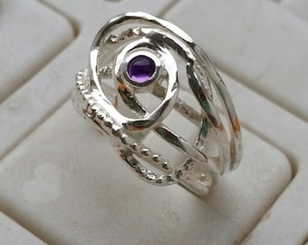 Amethyst Silver Ring ,Sterling Silver 925 Ring ,Statement Ring ,Handmade Amethyst Ring , Women Amethyst Ring, Friendship Ring, Mother's Day