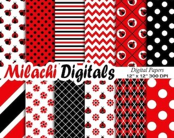 60% OFF SALE Ladybug digital paper, background, scrapbook papers, stripes, chevron, polka dots - M328