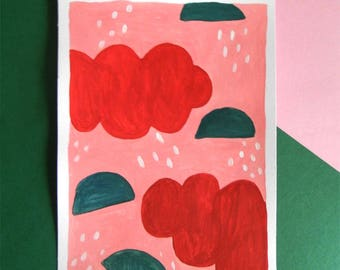Clouds - Original signed painting - Hand painted illustration size A5