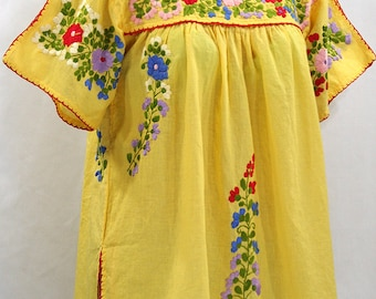 """Split-sleeve Mexican Peasant Top Blouse Hand Embroidered: """"Lijera"""" Yellow with Multi Colored Embroidery"""
