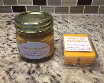 Birds of Paradise Scented Soy Candle and Wax Melt
