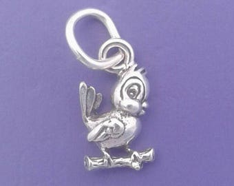 BIRD On Branch Charm .925 Sterling Silver MINIATURE Small - elp514R