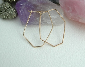 Geometric Hoop Earrings- Silver Hoops- Gold Hoops- Rose Gold Hoops- Geometric Jewellery- Statement Jewellery