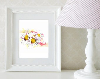 Watercolor daisies art print / Charlevoix Daisies flower illustration / 5 x 7 or 8 x 10 wall art / frameable art by Marie-Eve Pharand