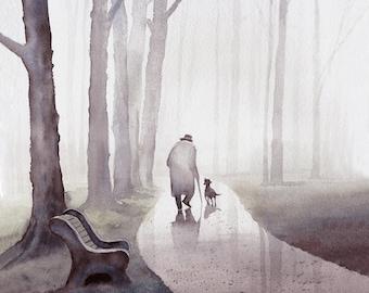 Original Watercolor Archival Print - Man, Dog, Park, Friends, Companion, Father's day