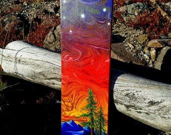 Twilight Pines  - Original Landscape Pine Trees Forest Surreal Painting by Mr.Mizu