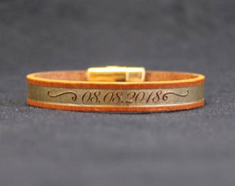 tan and gold leather bracelet - personalised with your name, phrase or date