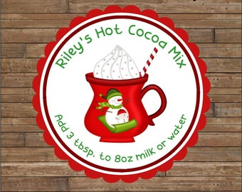 Personalized Hot Chocolate Stickers    Kid's Hot Cocoa Tags     Hot Cocoa Mix    Hot Cocoa Labels     Snowman Hot Cocoa Stickers