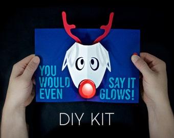 Rudolph Light-Up Card Kit - Rudolph Christmas Card Kit - Card Making - Pop-Up Card - Christmas Craft - Crafty Gift - Gift for scrapbooker