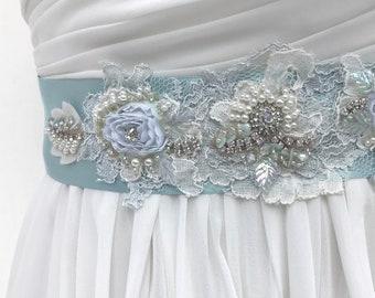Beaded Lace Bridal Sash / Crystal & Pearl Wedding Sash / Aqua Blue / Wedding Dress Sash  / Flower Sash  / Rhinestone Bridal Belt