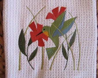 Hummingbird in Flowers (White) - Microfiber Waffle Weave Kitchen Hand Towel