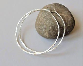 Sterling Silver Thin Hoop Earrings, Large Lightweight Hoop Earrings, Minimalist Earrings, Sterling Silver Hoop Earrings, Silver Hoops.