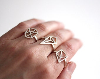 Geometric Rings, Handmade Silver Rings, Precious Graphic Rings, Choose From Three Designs, Made in Brighton, uk