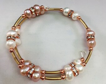 Wire Wrap Bracelet Fresh water Pearls in Champagne White and Rose Gold tones Handcrafted 6-7mm Beads NEW