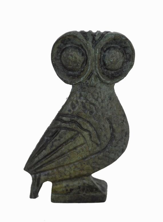 Owl miniature bronze sculpture ancient Greek reproduction