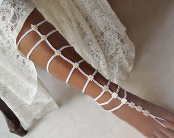 Gladiator Wedding Barefoot Sandals, Pearl Barefoot Sandals, Boho Wedding Sandals, 1 Pair