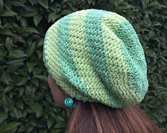 Striped Slouchy Hat Crochet Pattern