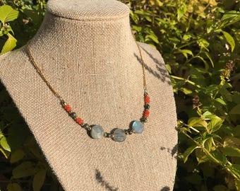 Labradorite and carnelian necklace