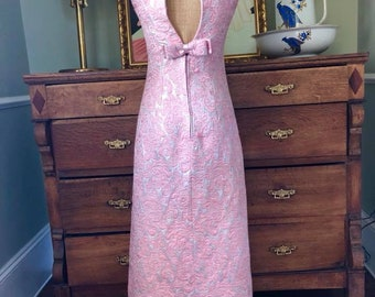 Beautiful 1960's Sassoon London Pink & Silver Brocade Evening Gown/Prom Dress