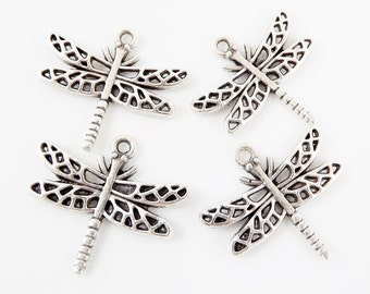 4 Ornate Dragonfly Charm Pendant  - Top Loop - Matte Silver Plated