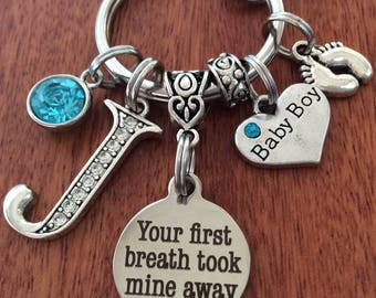 Baby Boy Gift, Personalized New Mom Gift, Gift For New Mom, New Mom Keychain, Your First Breath Took Mine Away, Mom Baby Boy Gift, Baby Boy