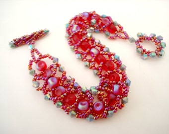 Carnival Red Beaded Bracelet flat spiral flashy statement bracelet with iridescent red and grey beadwork