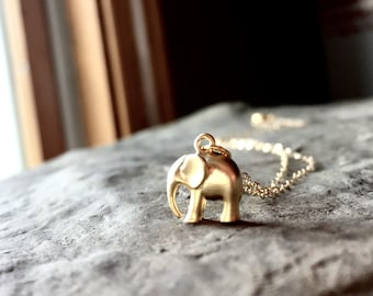 Gold Elephant Necklace / Tiny Elephant / Dainty Gold Necklace / Good Luck Necklace