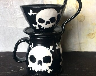 Skull Coffee Pour Over Filter Set, Skull & Crossbones Ceramic Pour Over Coffee Maker and Pitcher Set in Black and White