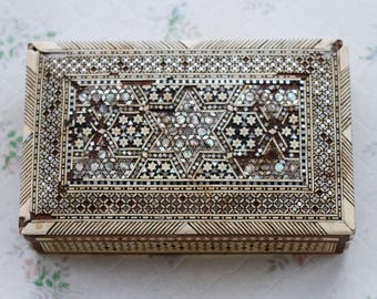 Marquetry Jewelry Box - Spanish Inlaid Mosaic - Bone and Mother of pearl- Islamic Patterns