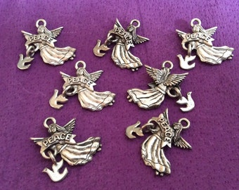 Peace Angel with Dove Pewter Charms