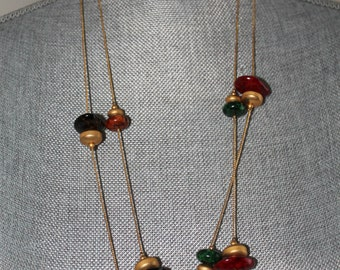 Vintage 14K Gold Plated Necklace Extra Long Red Green Gold Beads 60 Inch