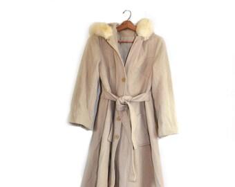 Vintage Wool Coat Wool Jacket Womens Wool Coat Beige Coat Boho Coat Beige Jacket Long Jacket Women's Wool Coat