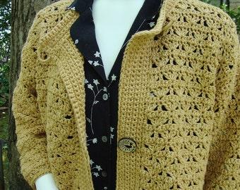 Crochet Cardigan, Sweater Coat, Crochet Jacket Cardigan, Yellow Cardigan, Cotton Cardigan, Artisan Golden Yellow Studio Jacket, S/M