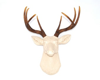 Faux Taxidermy Deer Head Wall Mount - Ivory Deer With Natural Antler- D6200