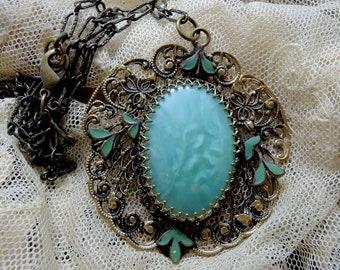 Turquoise Guilloche Enamel Pendant Necklace