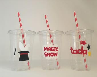 Magic party cups, Magician Party Cups, Magic Birthday Party, Magic Baby Shower, Magic Party Favors, Magic Show Party