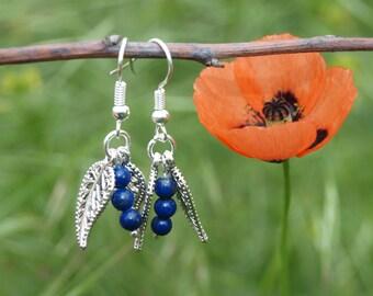 Silver blue earrings Lapis lazuli earrings Cute earrings Teens jewelry Gift for girlfriend under 10 dollars Handmade earrings Gift for her
