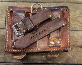 Vintage Ammo Watch band, thickness 4 mm, made on ammo pouch dates back to 1950th-1960th Handmade in Finland
