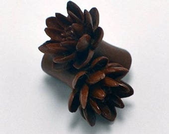 "Water Lily Organic Ear Gauge Plugs (1/2"") - Sabo Wood"