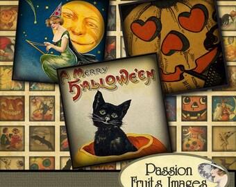 Vintage Halloween Images Scrabble Tiles Digital Collage Sheet--Instant Download