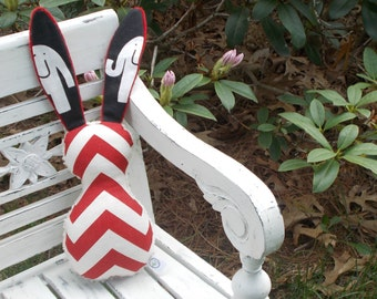 Red Chevron and Elephant Bits The Bunny Plush Rattle