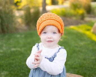 5 Sizes Orange Newsboy Cap Baby Newsboy Hat Baby Hat Toddler Newsboy Toddler Hat Toddler Girl Newsboy Toddler Boy Newsboy Womens Newsboy